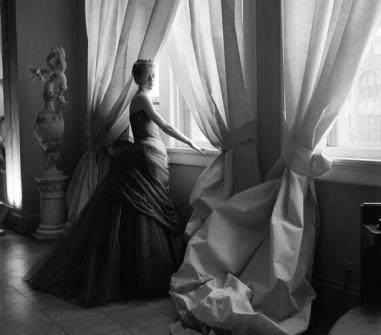 Nancy James in a Charles James ballgown, 1955